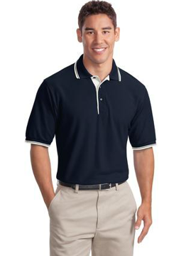 Picture of Port Authority® Silk Touch™ Polo with Stripe Trim. K501