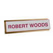 2 x 8 Gold Desk Plate Sign Holder | Gray Engraves Maroon