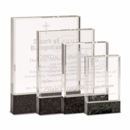 Glass Black Stone Award   Available In 4 Sizes