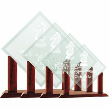 Diamond Glass Award On Rosewood Base | 4 Sizes Available