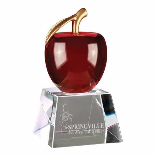 Crystal Apple Award Red | Engraving Included