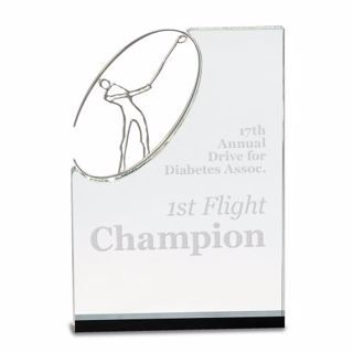 Crystal Golf Award Vertical | Engraving Included