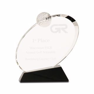 Crystal Inverted Oval Golf Award Medium | Engraving Included