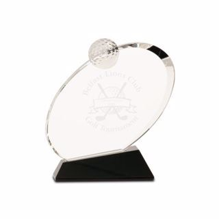 Crystal Inverted Oval Golf Award Small | Engraving Included