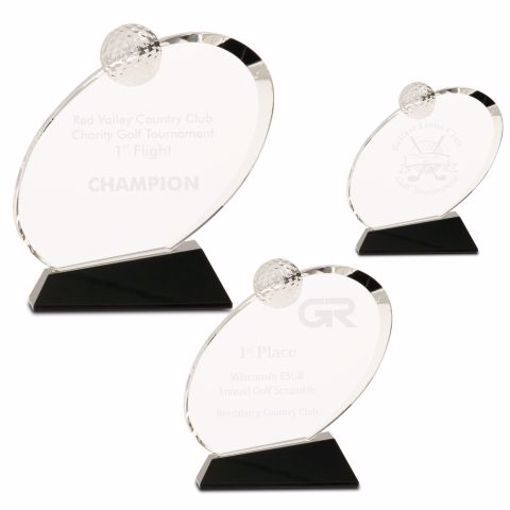 Crystal Inverted Oval Golf Award | 3 Sizes Available | Engraving Included