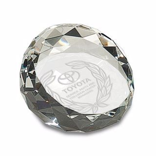 Engraved Crystal Paperweight 3 1/2"