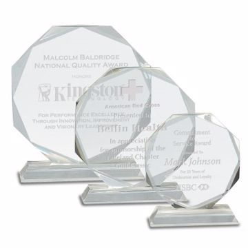 Crystal Octagon Award | 3 Sizes Available | Engraving Included