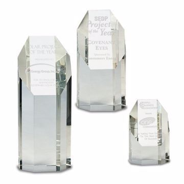 Crystal Octagon Tower Award | 3 Sizes Available | Engraving Included