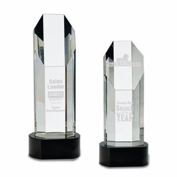 Crystal Octagon Tower Black | 2 Sizes Available | Engraving Included