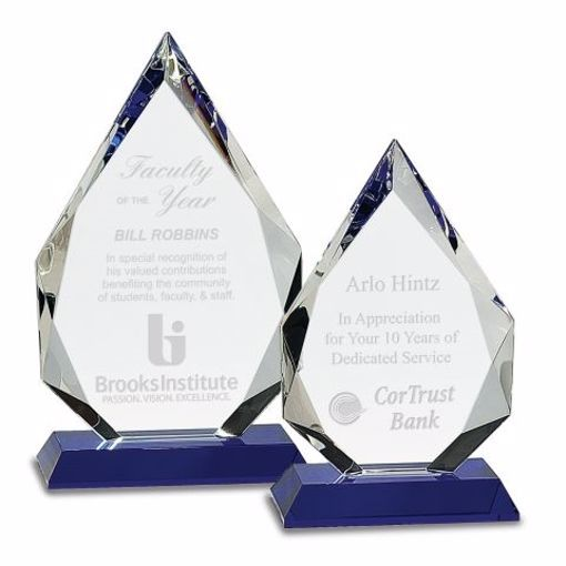 Crystal Pinnacle Award Blue | 2 Sizes Available | Engraving Included