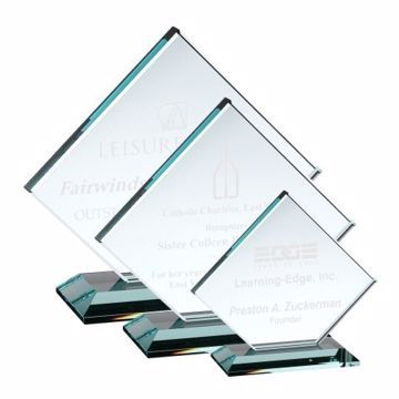Clipped Square Glass Award | 3 Sizes Available | Engraving Included