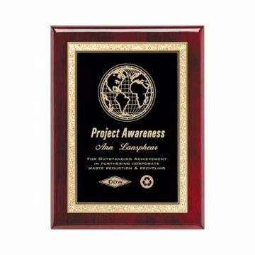 """Black Brass Plate Rosewood Plaque 8"""" x 10"""" 