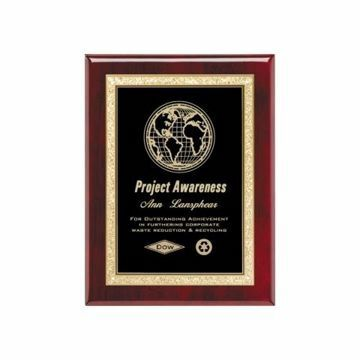 """Black Brass Plate Rosewood Plaque 7"""" x 9"""" 