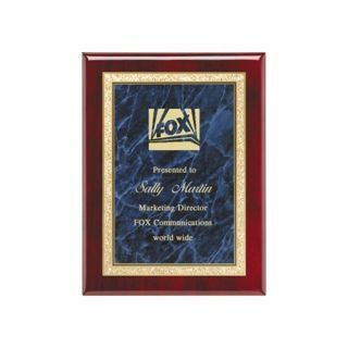 "Blue Marble Plate Rosewood Plaque 7"" x 9"" 