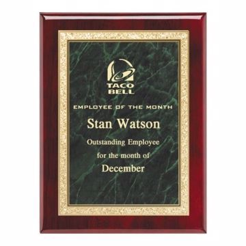 """Green Marble Plate Rosewood Plaque 9"""" x 12"""" 