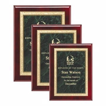 Green Marble Plate Rosewood Plaque | 3 Sizes Available |  Engraving Included