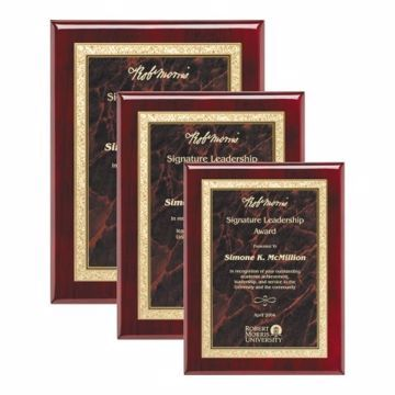Red Marble Plate Rosewood Plaque | 3 Sizes Available |  Engraving Included