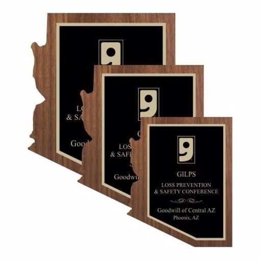 Solid Walnut Arizona Shaped Plaque | 3 Sizes Available | Engraving Included