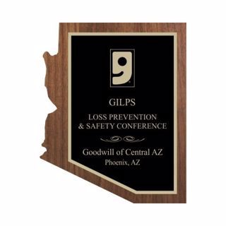 "Solid Walnut Arizona Shaped Plaque 10"" x 13"" 