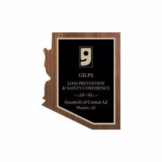 "Solid Walnut Arizona Shaped Plaque 6"" x 8"" 