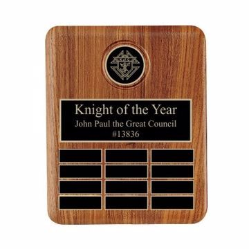 "Solid Walnut Perpetual Plaque With Logo 10 1/2"" x 13"" 