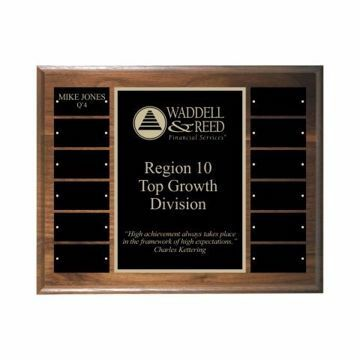 Solid Walnut Perpetual Plaque | 12 Plates | Initial Engraving Included