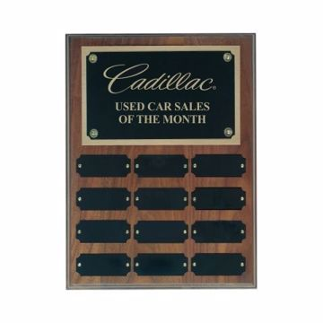 """Solid Walnut Perpetual Plaque 9"""" x 12""""   12 Plates   Engraving Included"""