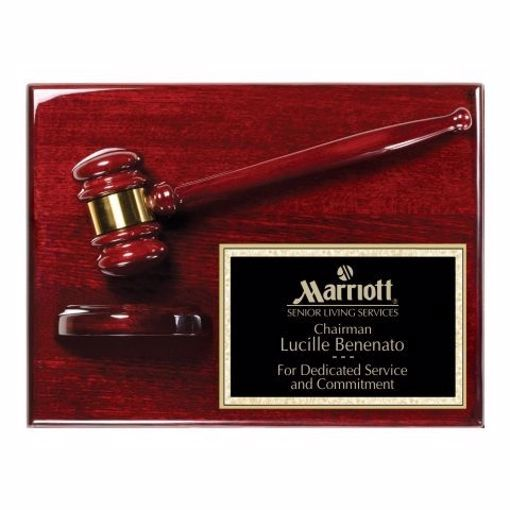"""Rosewood Finish Gavel Plaque 9"""" x 12"""" 