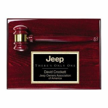"Gavel Plaque With Rosewood Finish 9"" x 12"" 