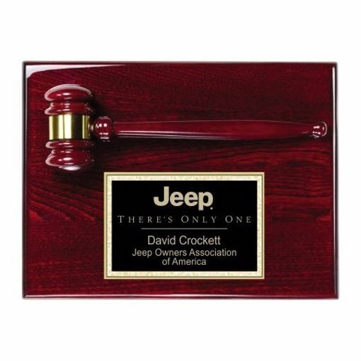 """Gavel Plaque With Rosewood Finish 9"""" x 12"""" 