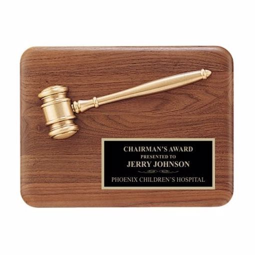"Gold Gavel On Walnut Plaque 9"" x 12"" 