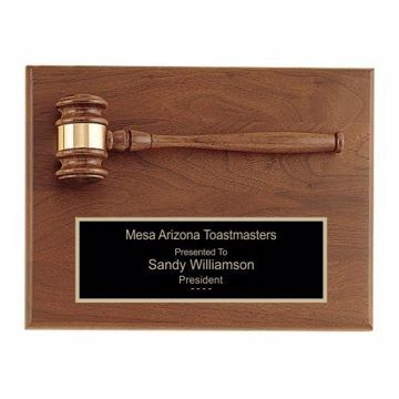 """Solid Walnut Gavel Plaque 9"""" x 12""""   Engraving Included"""