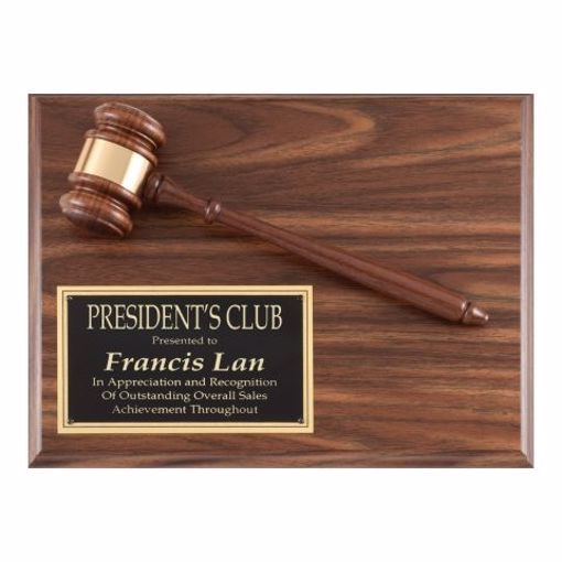 "Value Gavel Plaque 9"" x 12"" 