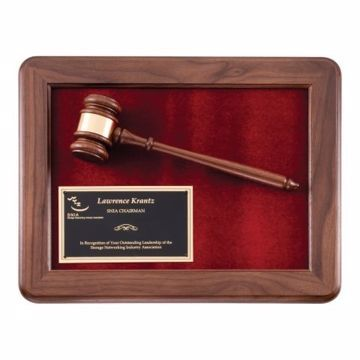 "Walnut Framed Gavel Plaque 15"" x 12"" 