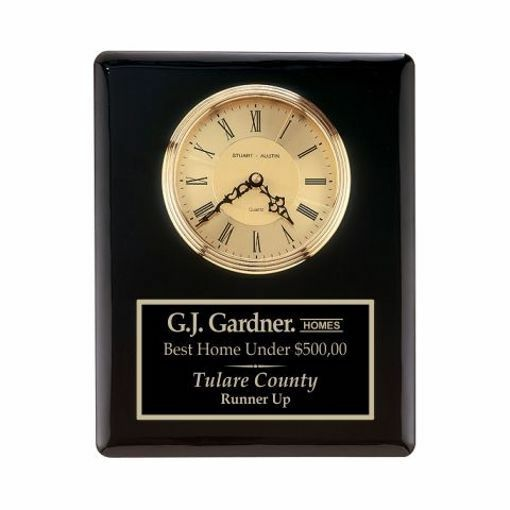 """Wall Clock Black Piano Finish 10 1/2"""" x 13""""   Engraving Included"""