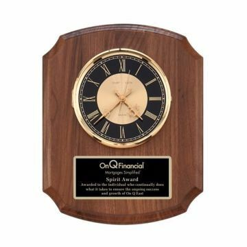 "Walnut Shield Shaped Wall Clock 10 1/2"" x 13"" 