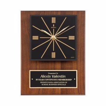 """Raised Face Solid Walnut Wall Clock 9"""" x 12"""" 