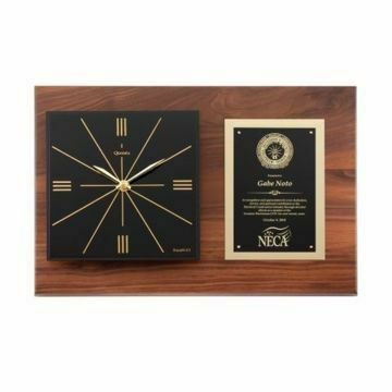 """Raised Face Horizontal Walnut Wall Clock 18"""" x 12"""" 