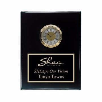 """Black Piano Finish Wall Clock 8"""" x 10"""" 