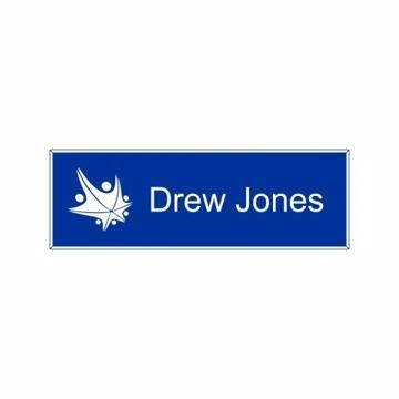 1x3 Blue White Name Tag