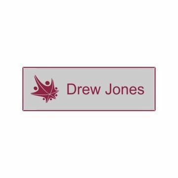 1x3 Gray Maroon Name Tag
