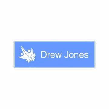 1x3 Light Blue White Name Tag