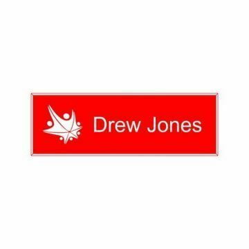 1x3 Red White Name Tag