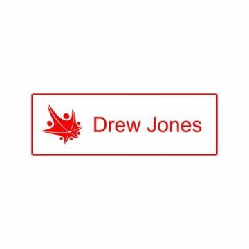 1x3 White Red Name Tag