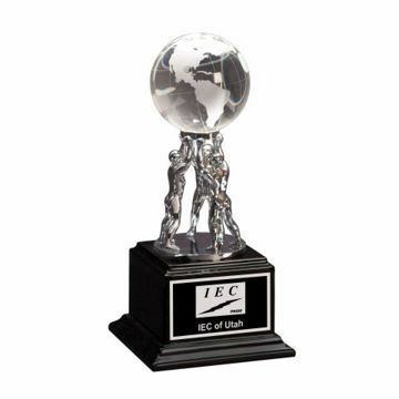 Crystal Globe Metal 3 Man Atlas Trophy | Engraving Included