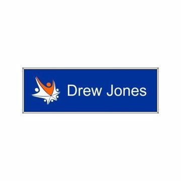 1 x 3 Name Tag Blue Engraves White | Full Color Imprint