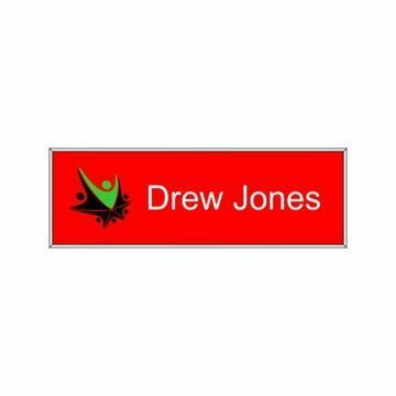 1 x 3 Name Tag Red Engraves White | Full Color Imprint