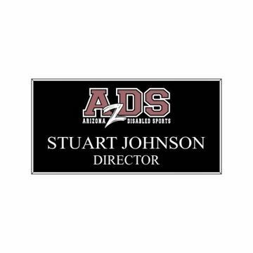 1.5 x 3 Name Tag Black Engraves White | Full Color Imprint