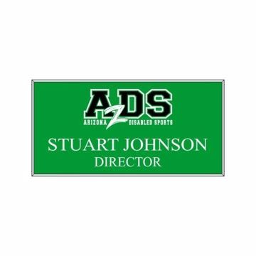 1.5 x 3 Name Tag Green Engraves White | Full Color Imprint