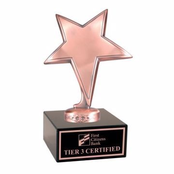 Bronze Star Trophy Black Marble Base | Engraving Included